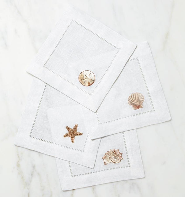 Fig Linens - Beach themed cocktail napkins - Sferra