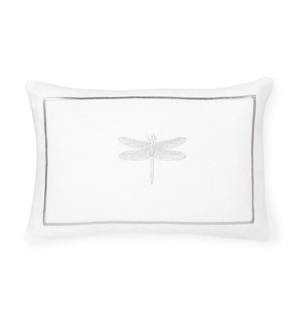 Alato Silver Decorative Pillow by Sferra | Fig Linens and Home - White and Silver linen throw pillow