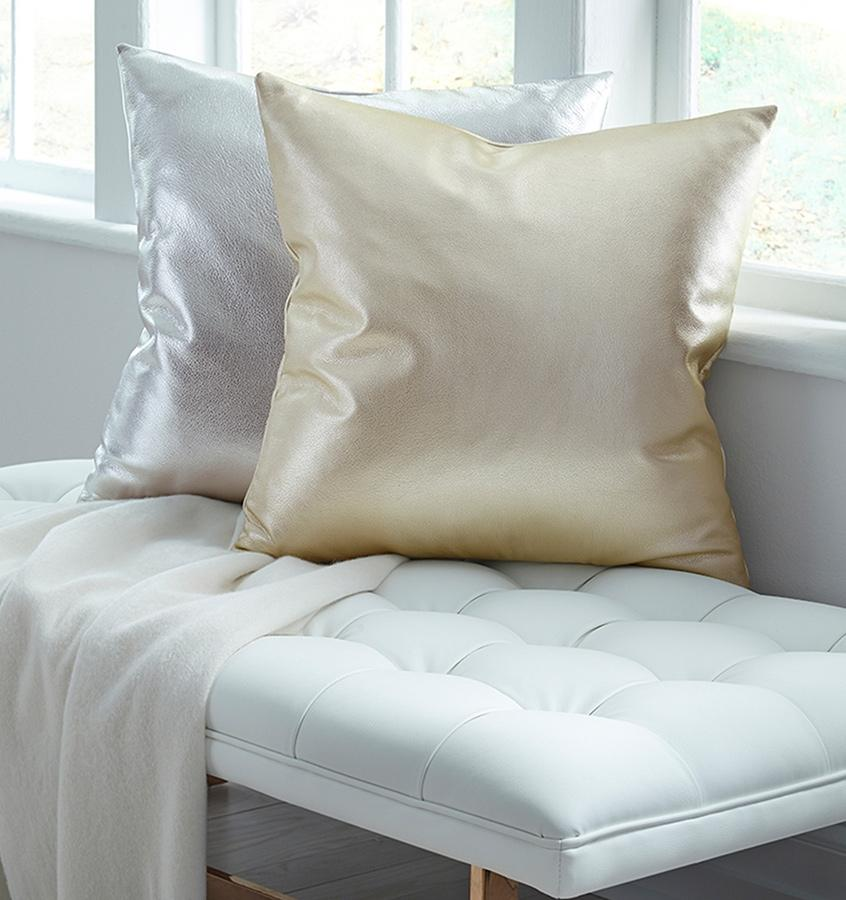 Satta Silver Decorative Throw Pillow by Sferra | Fig Linens - Gold, silver, pillow