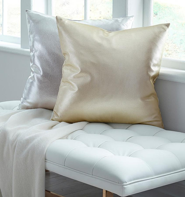 Satta Platinum Decorative Throw Pillow by Sferra | Fig Linens - gold and silver accent pillows