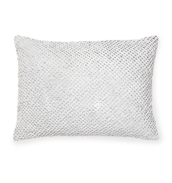 Silver decorative accent throw pillow - Zea by Sferra - Fig Linens