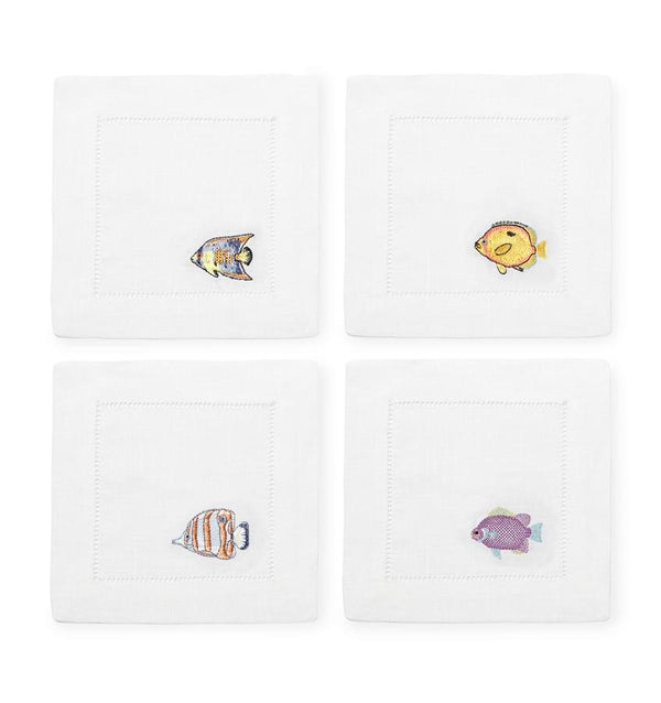 Cotton Cocktail napkins, ocean themed - Sferra - Fig Linens