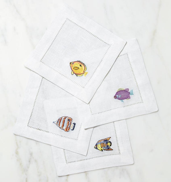 Cotton cocktail napkin with Tropical fish  - Sferra table linens - Fig Linens