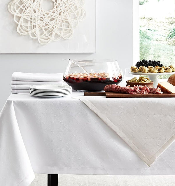 Juliet White Tablecloths & Napkins by Sferra | Fig Linens and Home