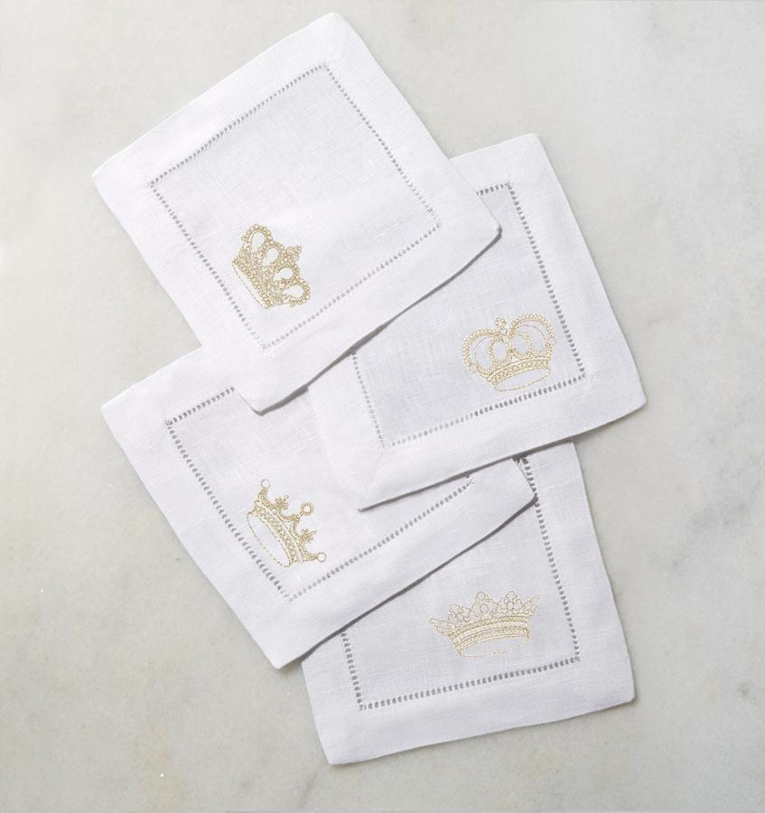 Cotton cocktail napkins - white and gold - Royalty by Sferra - Fig Linens