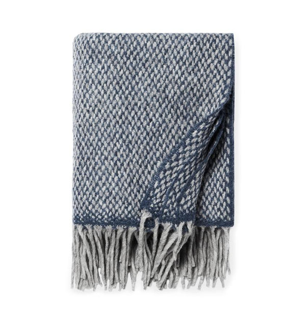 Indigo blue wool blend throw blanket with fringe - Tria by Sferra - Fig Linens