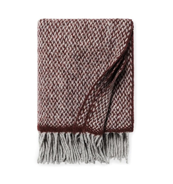 Merlot red throw blanket with fringe - wool blend throw - Sferra - Fig Linens