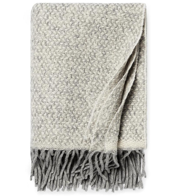 Tria Gray Wool Blend Throw with Fringe by Sferra - Fig Linens