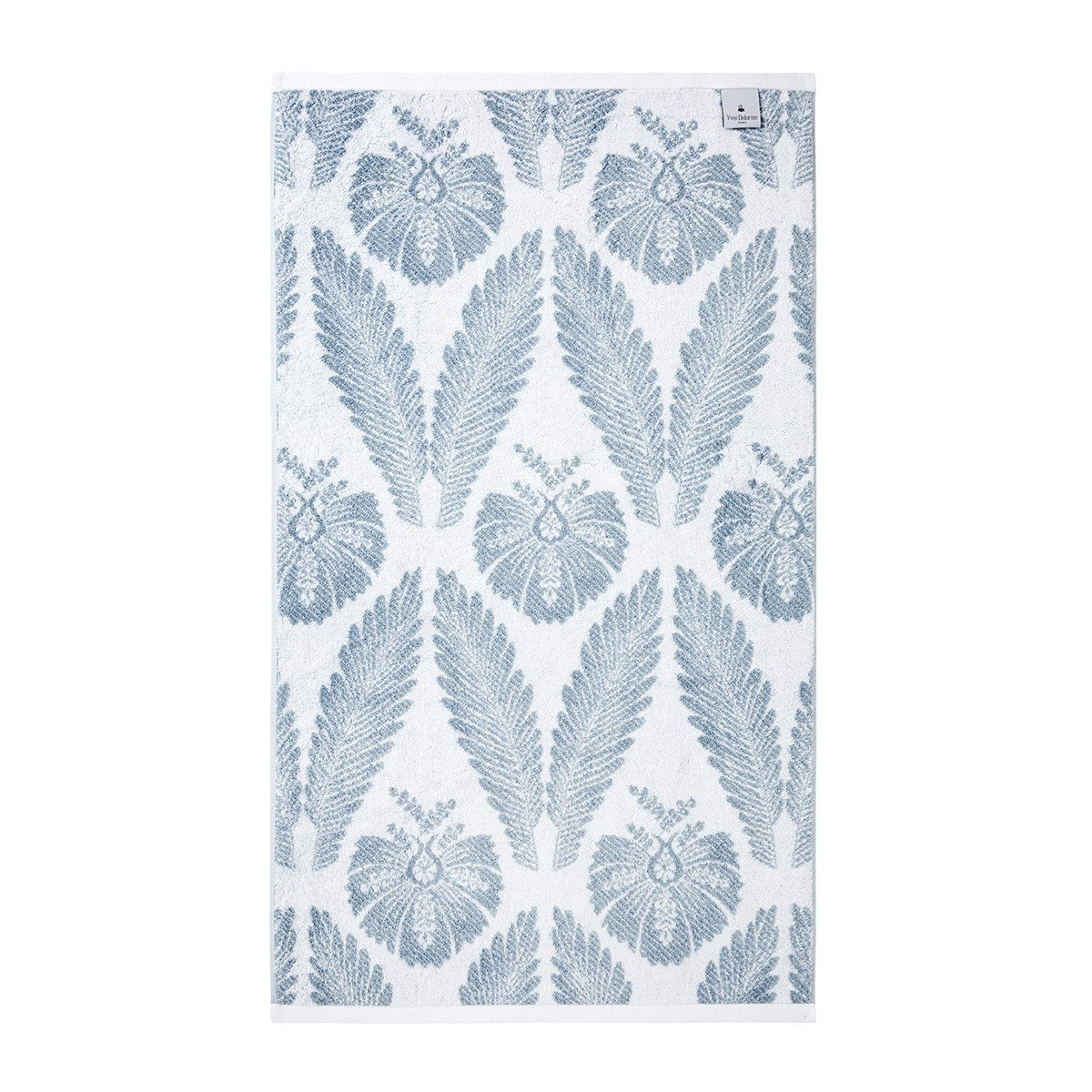 Yves Delorme Palmes Bath Towel Collection | Fig Linens, Blue bath, guest towel - back