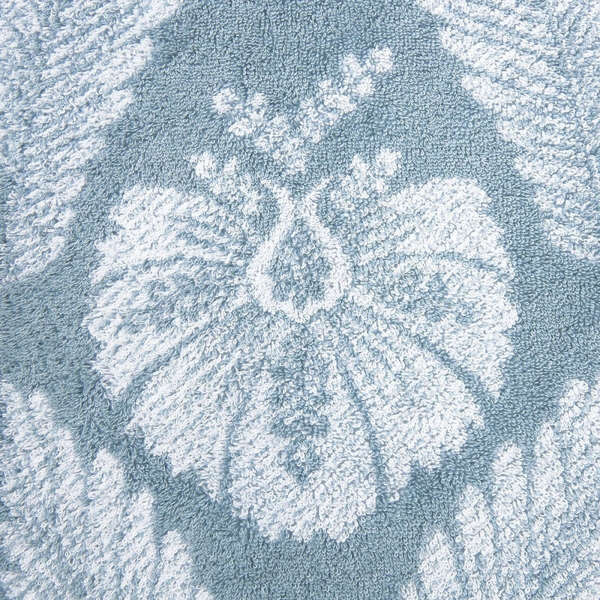 Yves Delorme Palmes Bath Towel Collection | Fig Linens, Blue bath, guest towel - floral, front