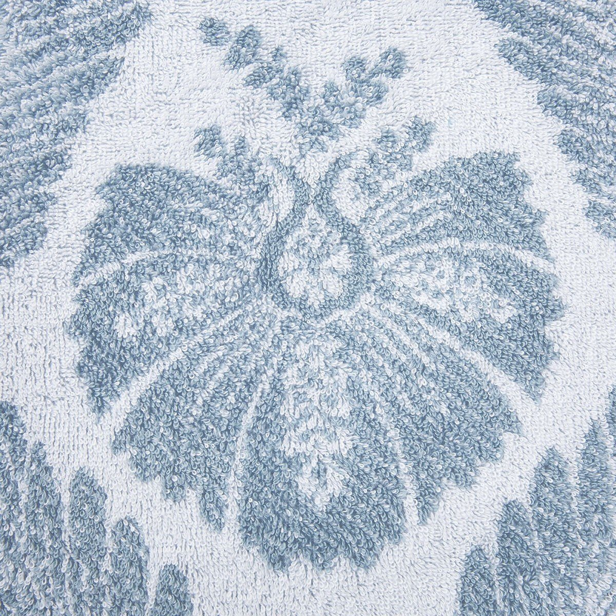 Yves Delorme Palmes Bath Towel Collection | Fig Linens, Blue bath, guest towel - floral, back