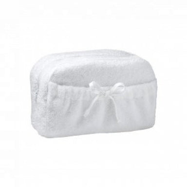 Etoile Blanc Cosmetic Bag by Yves Delorme | Fig Linens - White powder bag, tote