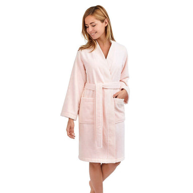 Astrée Kimono Blush Pink Bathrobe by Yves Delorme | Fig Linens - Pink robe with pockets and belt