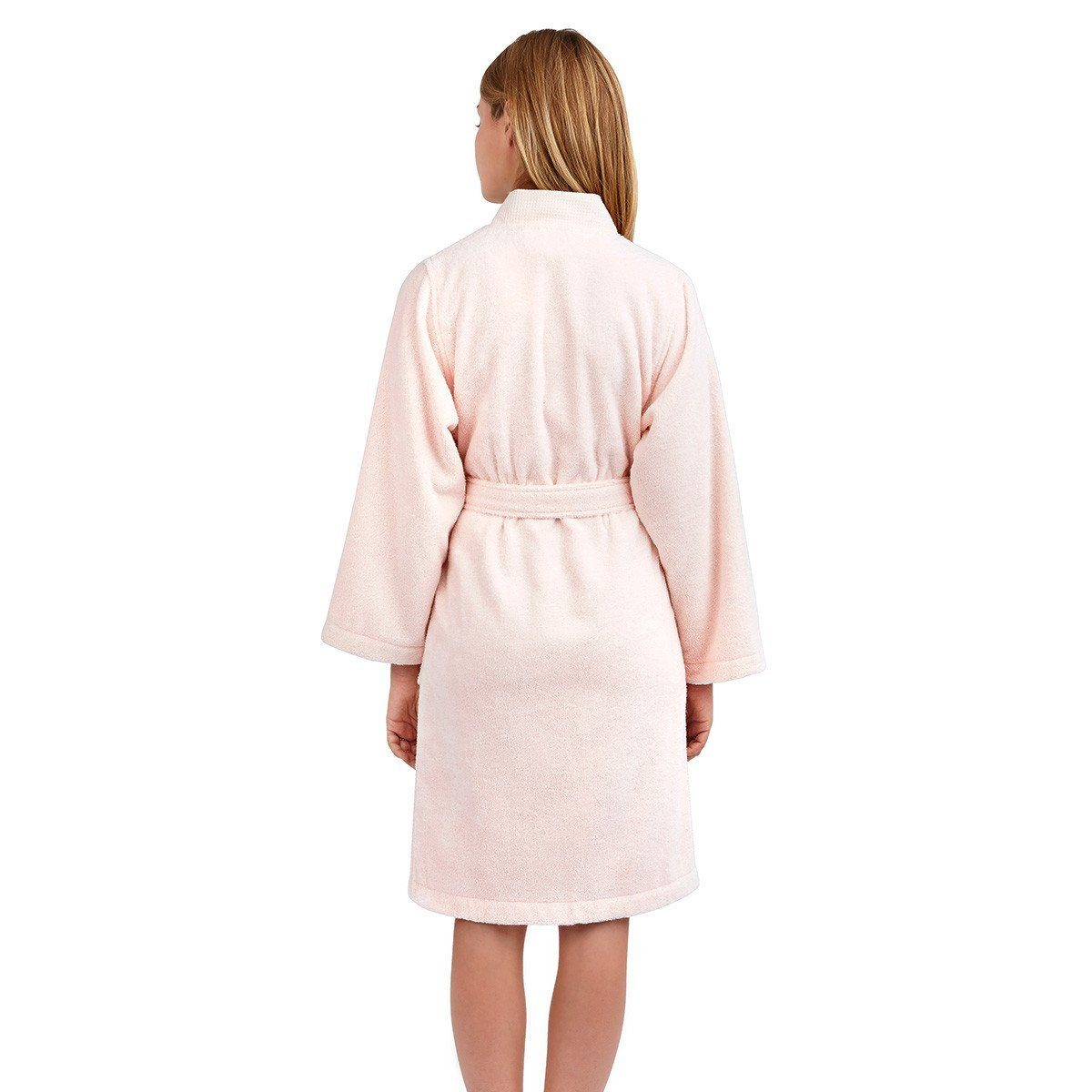 Astrée Kimono Blush Pink Bathrobe by Yves Delorme | Fig Linens - Back