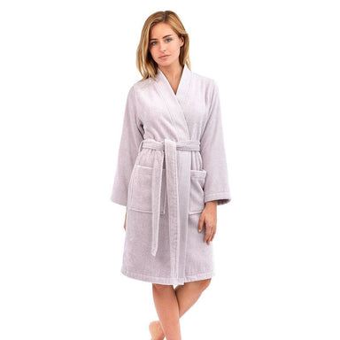 Astrée Kimono Nuage Bathrobe by Yves Delorme | Fig Linens - Light purple robe, front