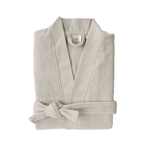 Astrée Kimono Pierre Bathrobe by Yves Delorme | Fig Linens - Tan robe with belt and pockets