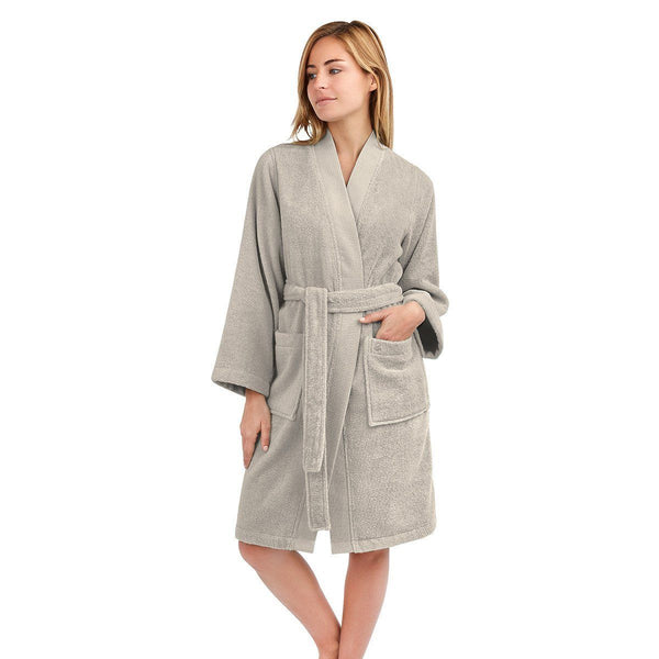 Astrée Kimono Pierre Bathrobe by Yves Delorme | Fig Linens - Tan robe, front