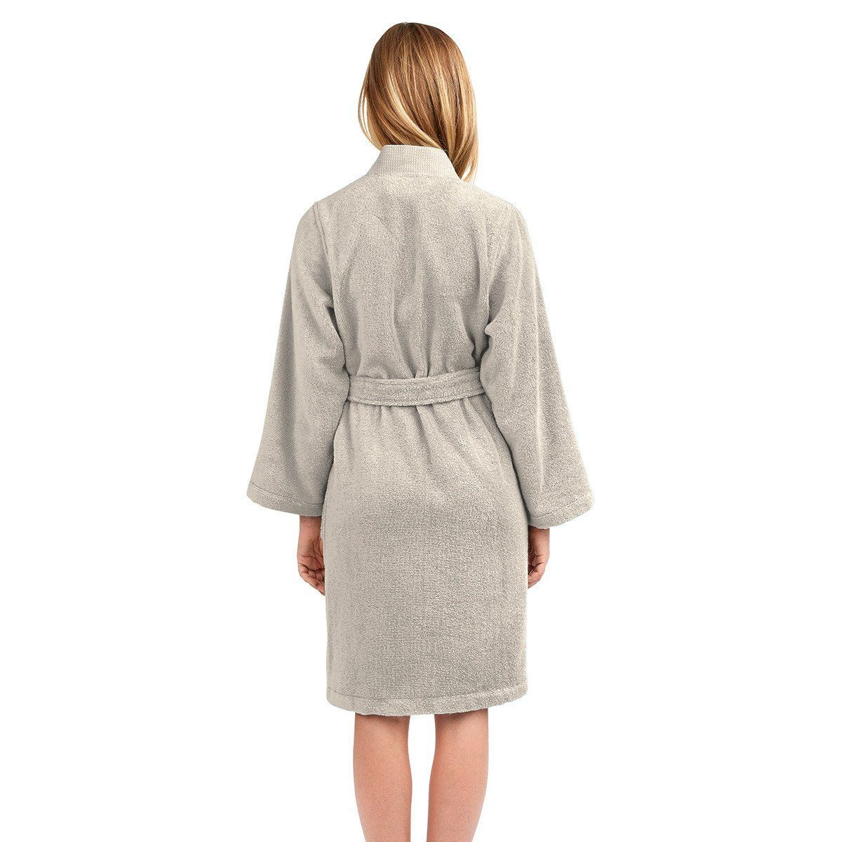 Astrée Kimono Pierre Bathrobe by Yves Delorme | Fig Linens - Tan robe, back