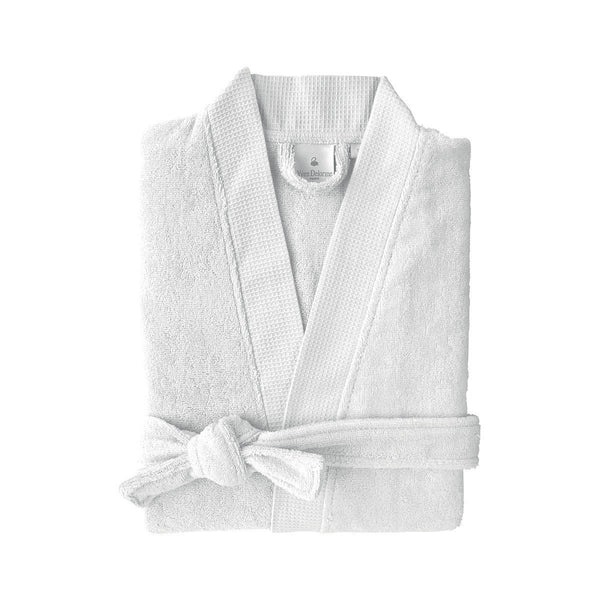 Astrée Kimono Silver Bathrobe by Yves Delorme | Fig Linens - Light gray robe with belt and pockets