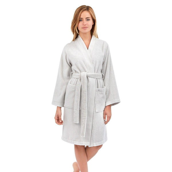 Astrée Kimono Silver Bathrobe by Yves Delorme | Fig Linens - Light gray robe, front