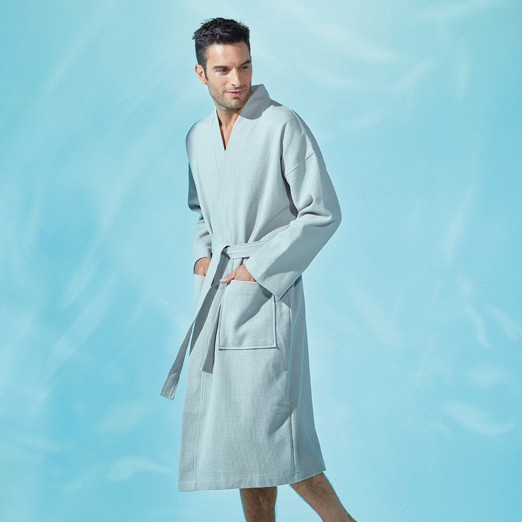 Astreena Pierre Kimono Bathrobe by Yves Delorme | Fig Linens - unisex bath robe with belt