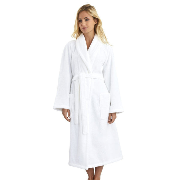 Etoile Blanc White Bathrobe by Yves Delorme | Fig Linens - Robe, front