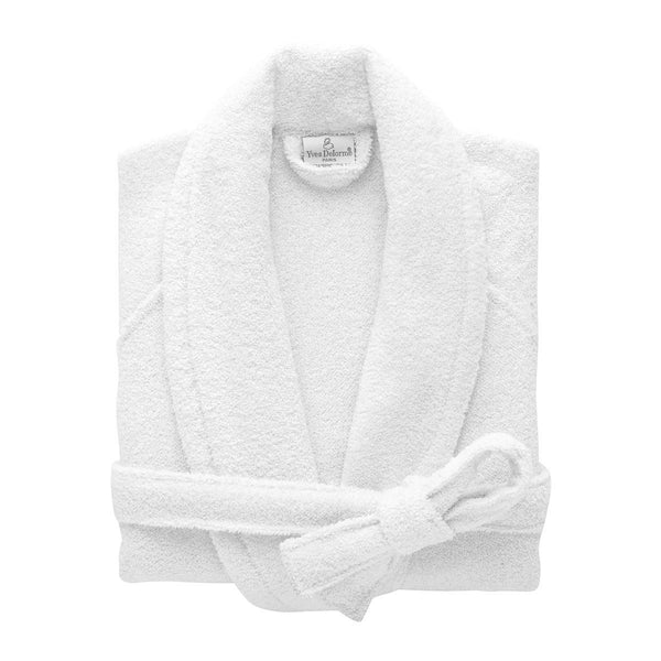 Etoile Blanc White Bathrobe by Yves Delorme | Fig Linens - robe with pockets and belt