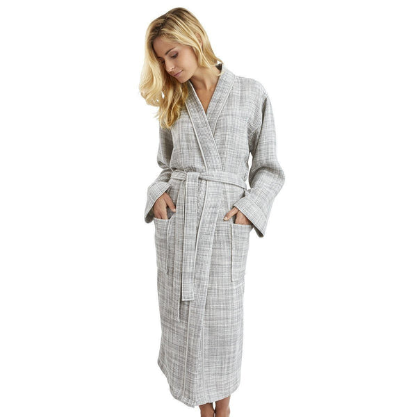 Leo Galet Kimono Bathrobe by Yves Delorme | Fig Linens - gray and white women's robe, front