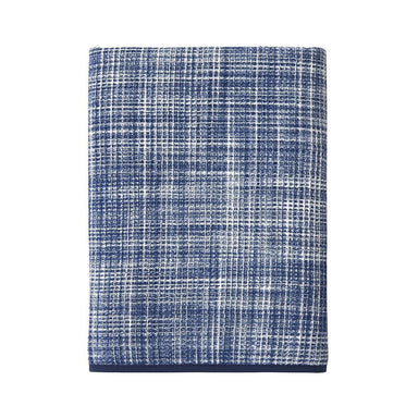 Leo Encre Waffle Weave Towel by Yves Delorme | Fig Linens - Blue and white bath towel