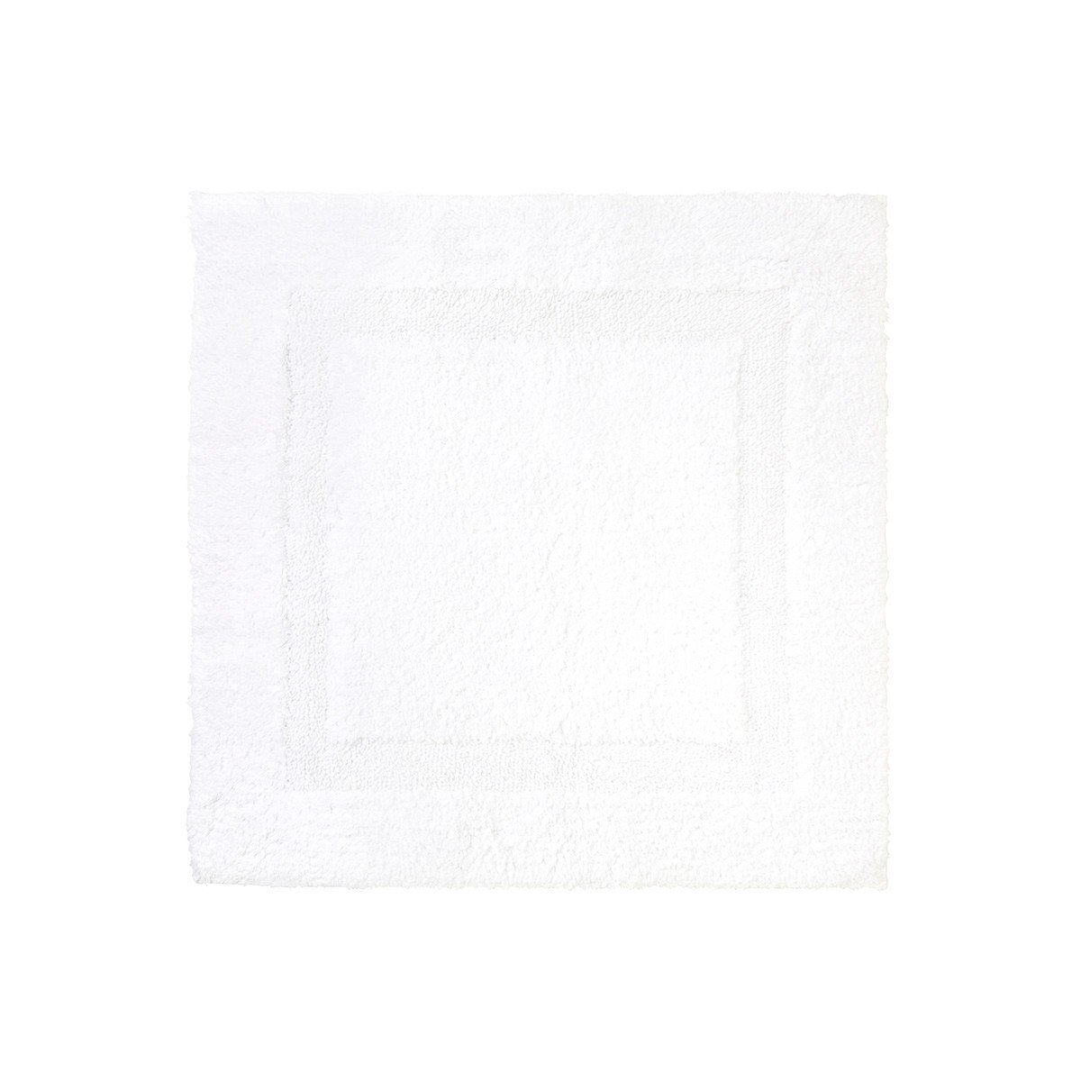 Aquilon Blanc Reversible Bath Rug by Yves Delorme | Fig Linens - White, square bath mat, rug