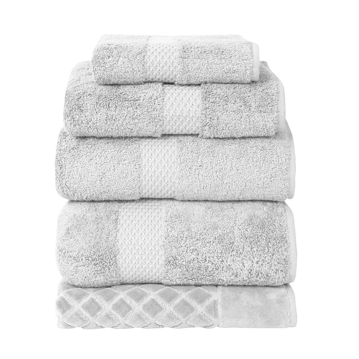 Etoile Silver Bath Collection by Yves Delorme | Fig Linens, Light gray bath linen