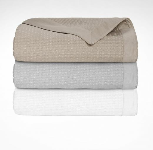 Morphée Blanc Coverlet by Yves Delorme | Fig Linens - Cotton, bedding, white, taupe, gray
