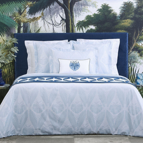 Palmes Bedding Collection by Yves Delorme | Fig Linens - Blue, floral, duvet cover, sheet, shams