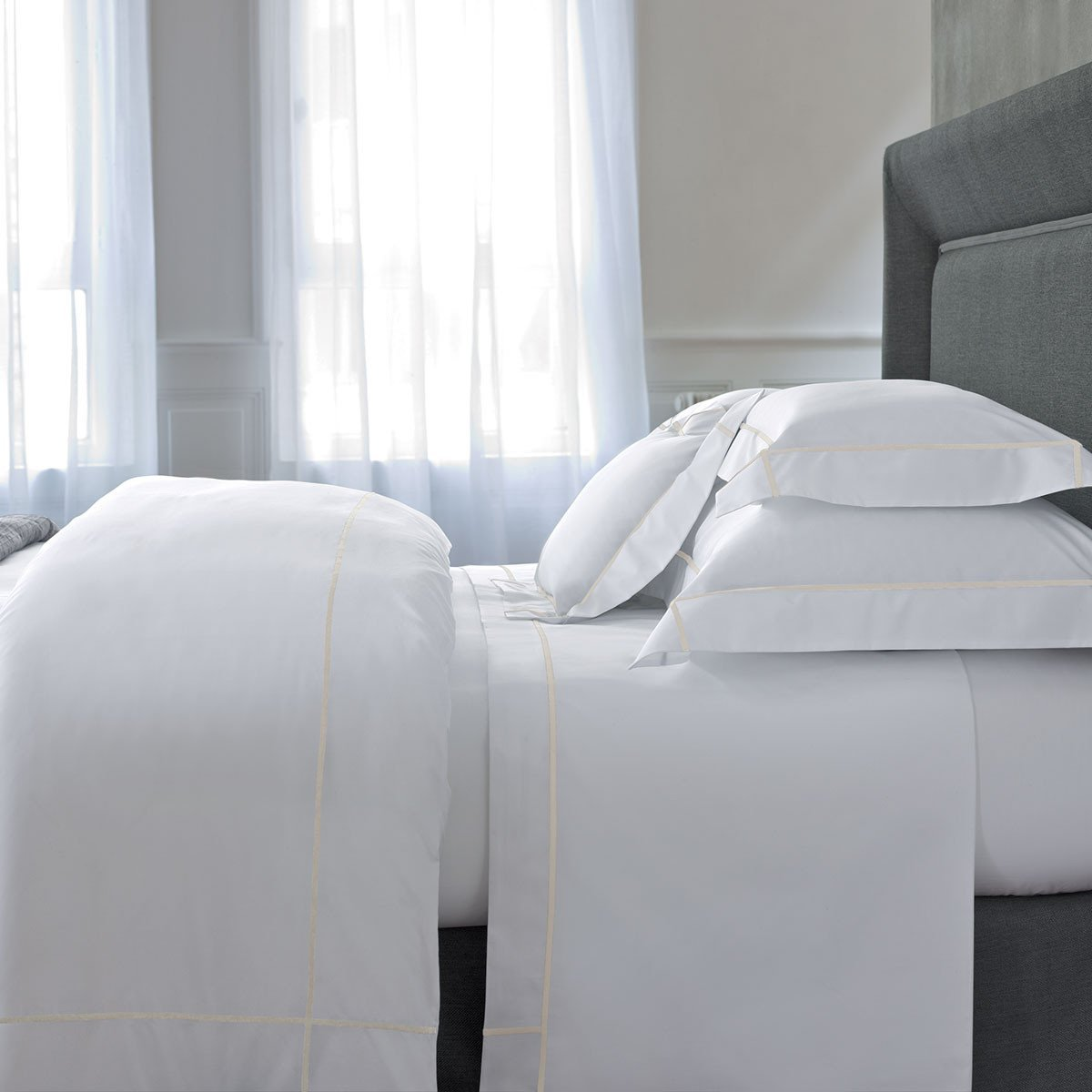 Athena Nacre Bedding Collection by Yves Delorme | Fig Linens - White and ivory bed linens
