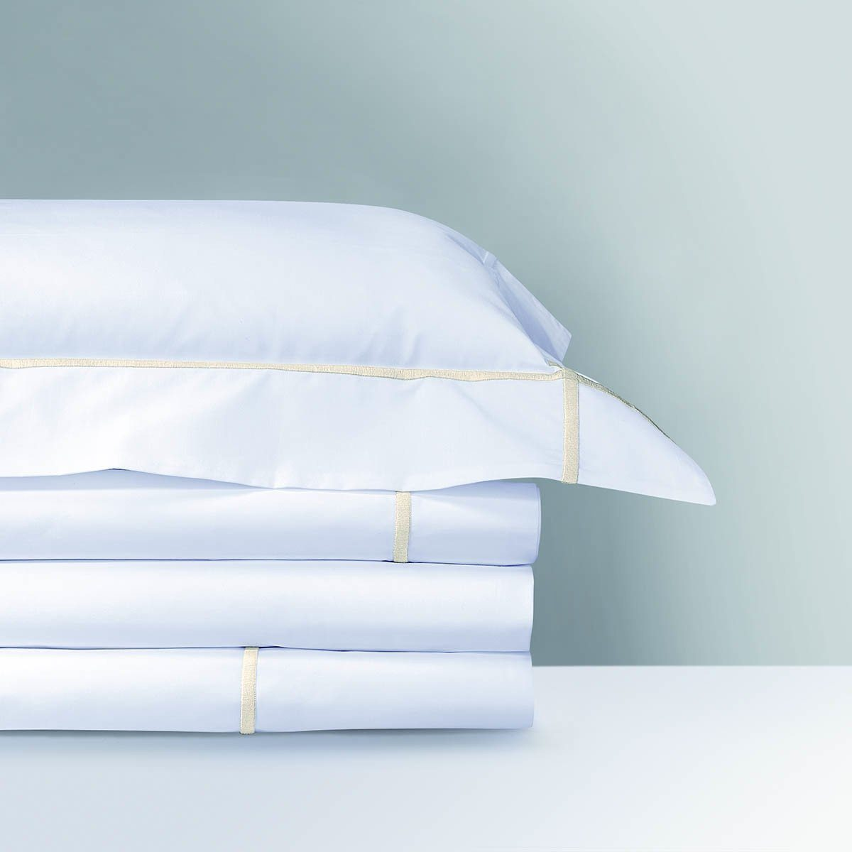 Athena Nacre Bedding Collection by Yves Delorme | Fig Linens - White and ivory, sheets, shams, duvet