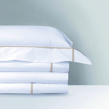 Athena Pierre Bedding Collection by Yves Delorme | Fig Linens - white bed linens, duvet sheet, sham