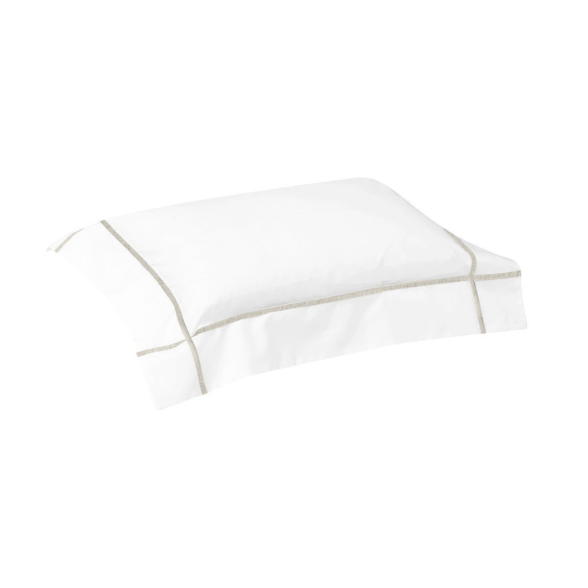 Athena Nacre Bedding Collection by Yves Delorme | Fig Linens - White and ivory boudoir sham