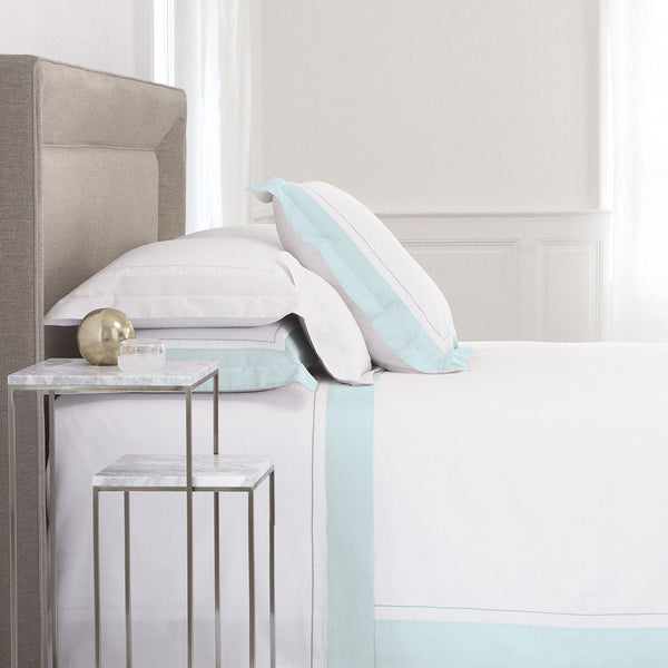Lutece Aqua Bedding by Yves Delorme | Fig Linens - Duvet cover, sheets, shams