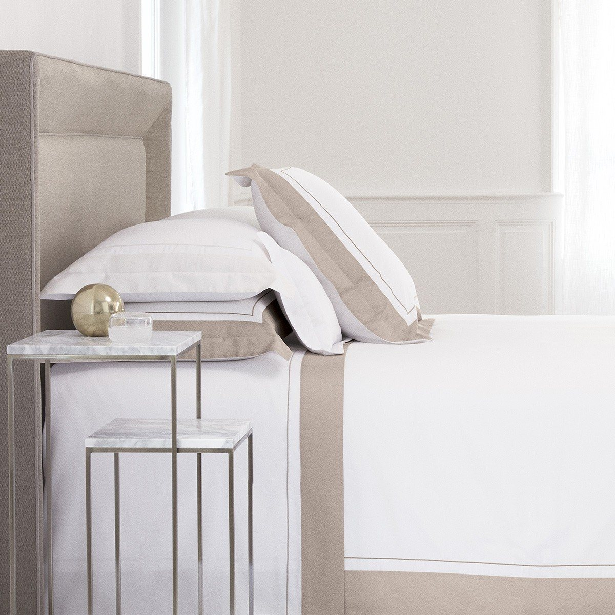 Lutece Pierre Bedding by Yves Delorme | Fig Linens - White, cotton, sheets, shams, duvet cover