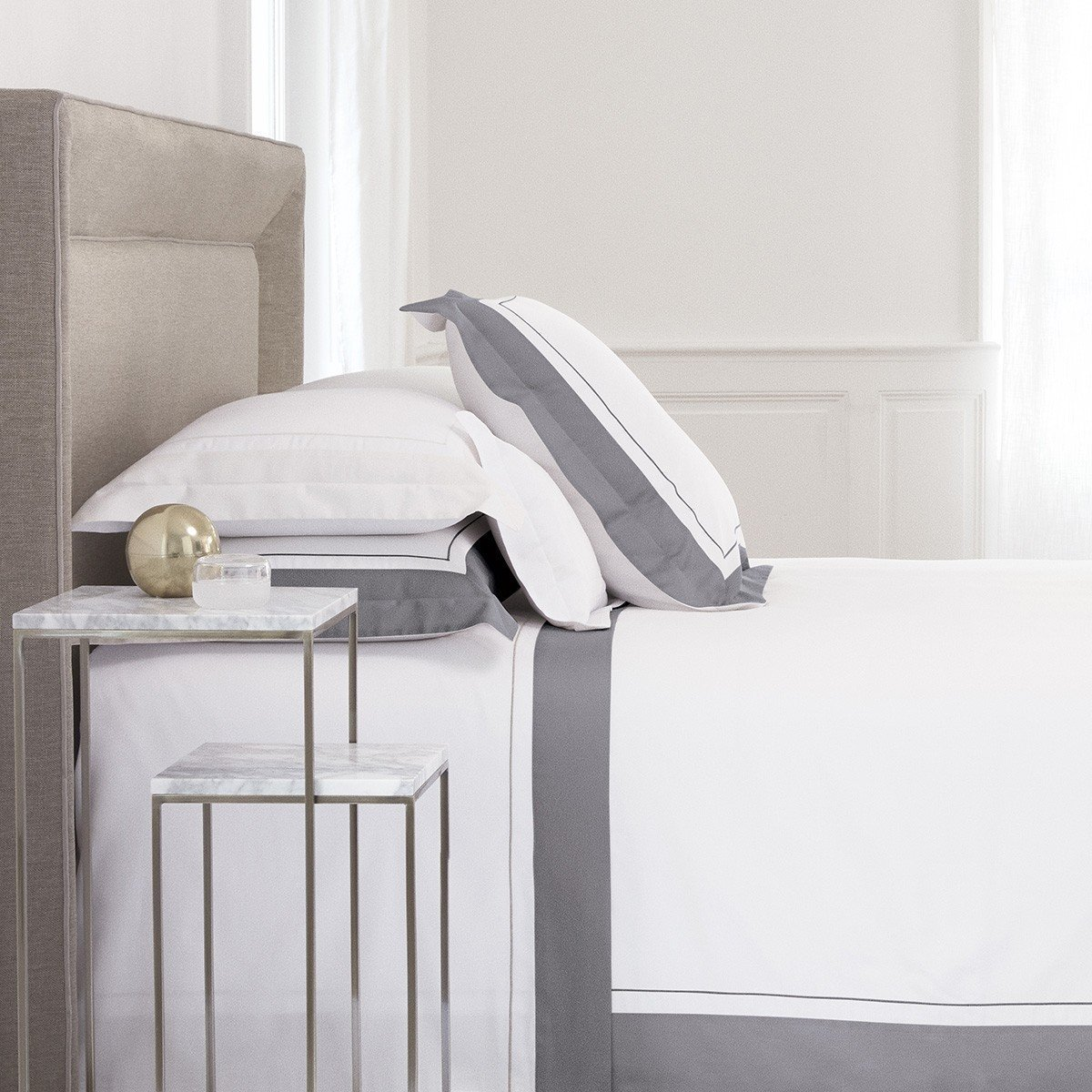 Lutece Platine Bedding by Yves Delorme | Fig Linens - Cotton, duvet cover, sheet, sham