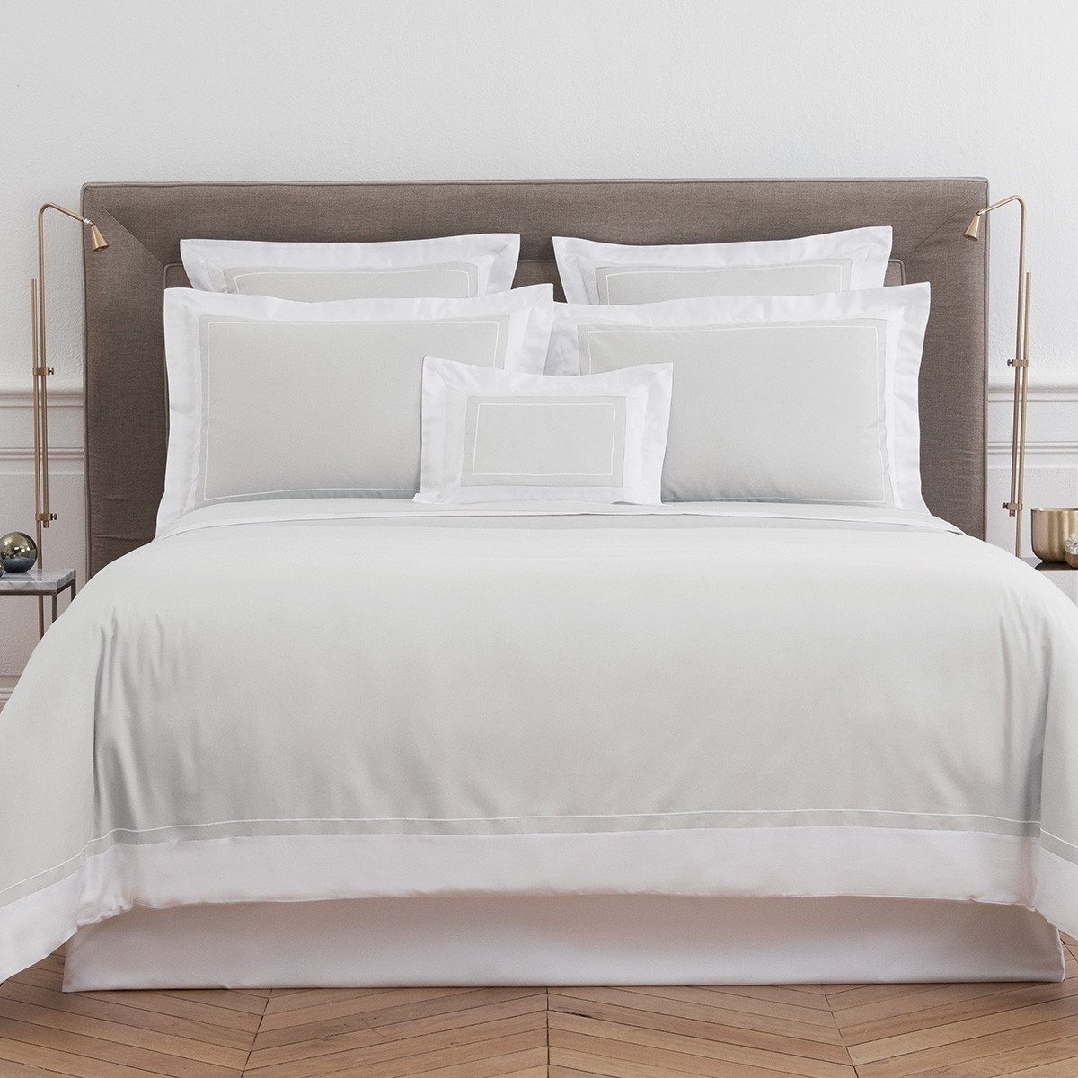 Ucetia Silver Bedding Collection by Yves Delorme | Fig Linens - Light gray bedding, cotton