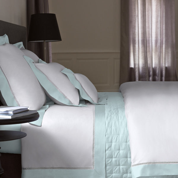 Walton Aqua Bedding Collection by Yves Delorme | Fig Linens - White, cotton, bed linen