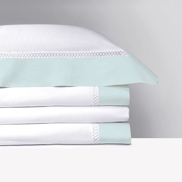 Walton Aqua Bedding Collection by Yves Delorme | Fig Linens - White and aqua bed linens, sheets