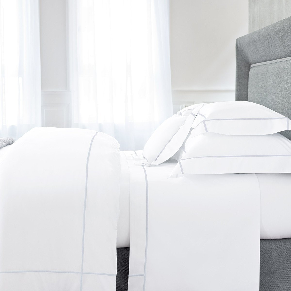 Athena Opalia Bedding Collection by Yves Delorme, Fig Linens - White bed linens