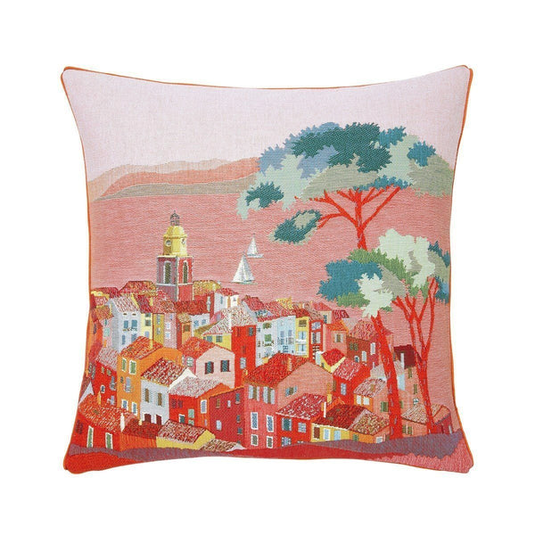 Pardi Village Aurore Red Throw Pillow by Iosis | Fig Linens - Front