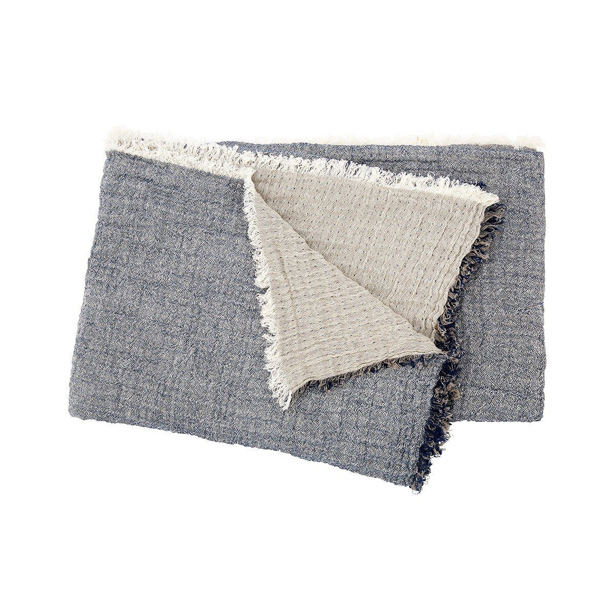 Minorque Ardoise Gray Throw with Fringe by Iosis | Fig Linens