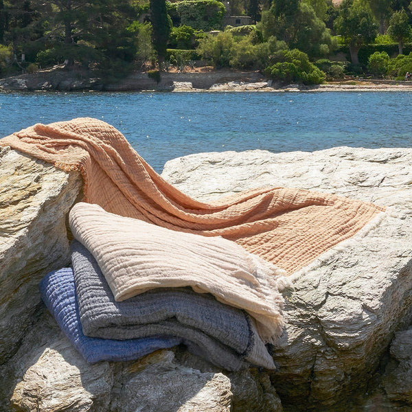 Minorque Vapeur Throw with Fringe by Iosis | Fig Linens