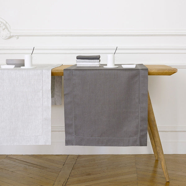 Liso Silver Table Linens by Yves Delorme Fig Linens Light Gray