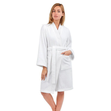 Astrée Kimono Blanc Bathrobe by Yves Delorme | Fig Linens - White bath robe, front