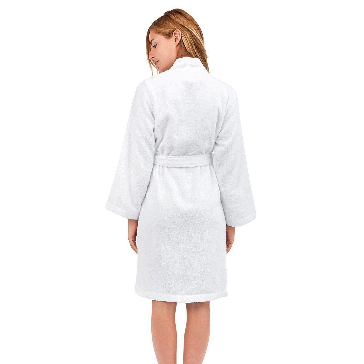 Astrée Kimono Blanc Bathrobe by Yves Delorme | Fig Linens - White bath robe, back